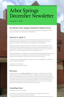 Arbor Springs December Newsletter