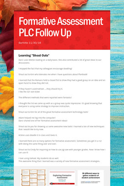 Formative Assessment PLC Follow Up