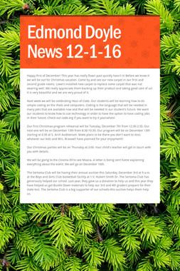 Edmond Doyle News  12-1-16