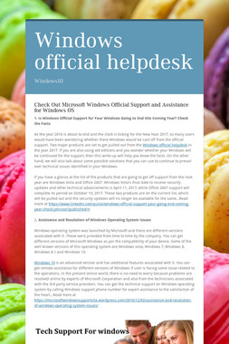 Windows official helpdesk