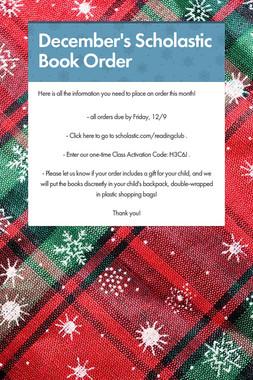 December's Scholastic Book Order