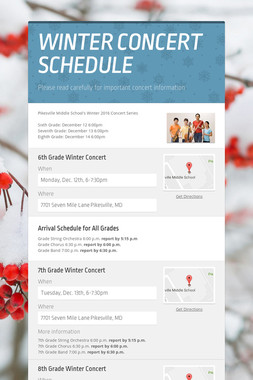 WINTER CONCERT SCHEDULE