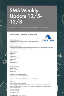 SMS Weekly Update 12/5-12/8