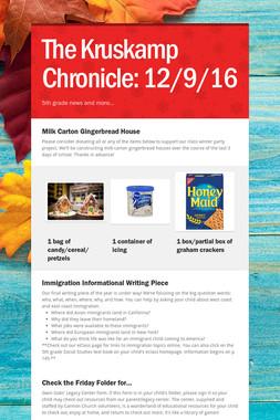 The Kruskamp Chronicle:  12/9/16