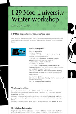 I-29 Moo University Winter Workshop
