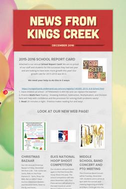 News from Kings Creek