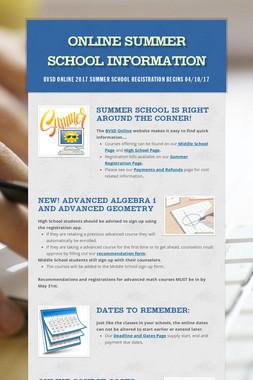 Online Summer School Information