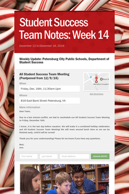 Student Success Team Notes: Week 14