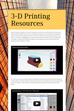 3-D Printing Resources