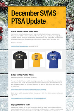 December SVMS PTSA Update