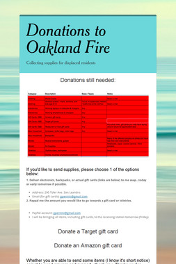Donations to Oakland Fire