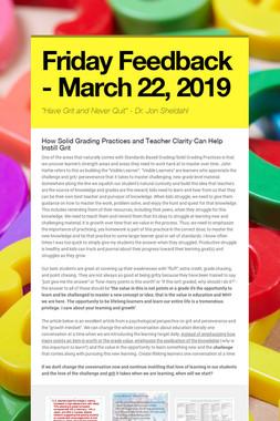 Friday Feedback - March 22, 2019