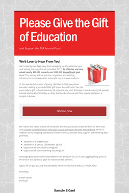 Please Give the Gift of Education
