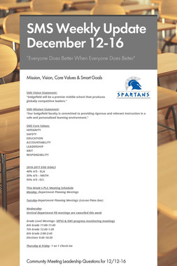 SMS Weekly Update December 12-16