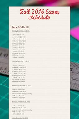 Fall 2016 Exam Schedule