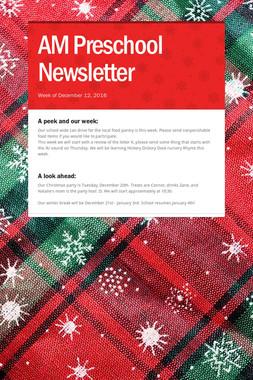 AM Preschool Newsletter