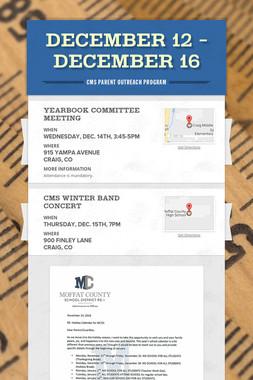 December 12 - December 16