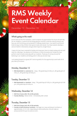 RMS Weekly Event Calendar