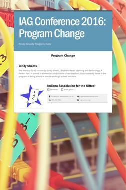 IAG Conference 2016: Program Change