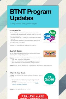 BTNT Program Updates
