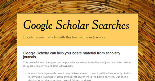 Google Scholar Searches | Smore Newsletters