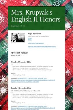 Mrs. Krupyak's English II Honors