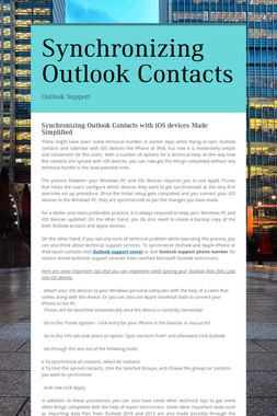 Synchronizing Outlook Contacts