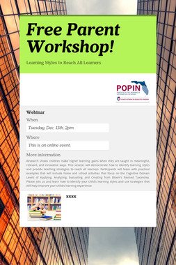 Free Parent Workshop!