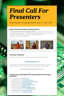 Final Call For Presenters