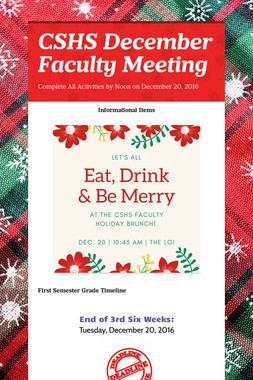CSHS December Faculty Meeting