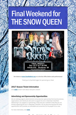 Final Weekend for THE SNOW QUEEN