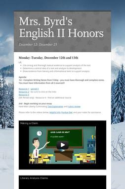 Mrs. Byrd's English II Honors