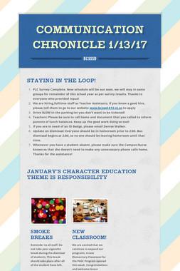 Communication Chronicle 1/13/17