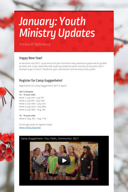 January: Youth Ministry Updates
