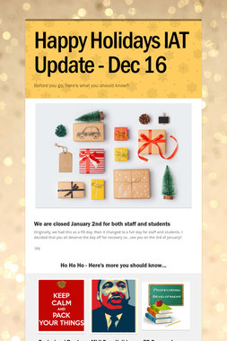 Happy Holidays IAT Update - Dec 16