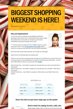 BIGGEST SHOPPING WEEKEND IS HERE!