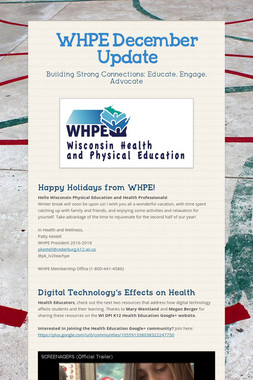 WHPE December Update