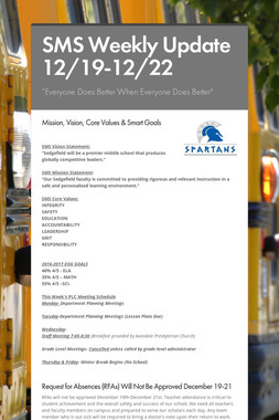 SMS Weekly Update 12/19-12/22