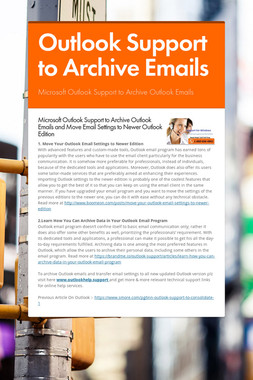 Outlook Support to Archive Emails