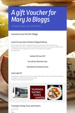A gift Voucher for Mary Jo Bloggs
