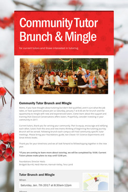Community Tutor Brunch & Mingle