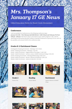 Mrs. Thompson's  January 17 GE News