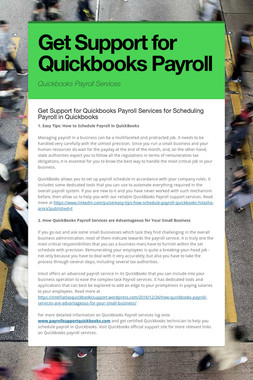 Get Support for Quickbooks Payroll