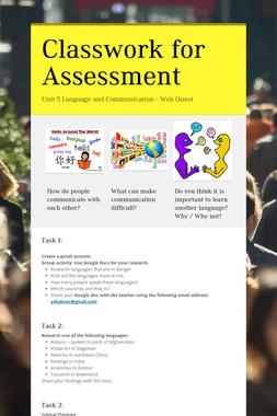 Classwork for Assessment