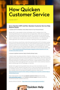 How Quicken Customer Service
