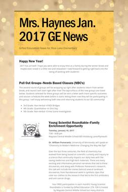 Mrs. Haynes Jan. 2017 GE News