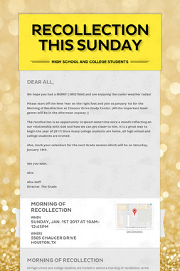 Recollection this Sunday