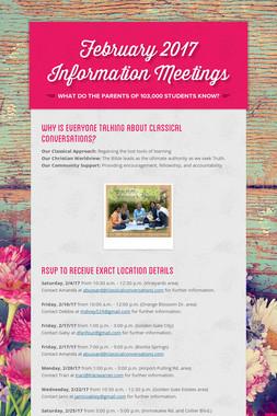 February 2017 Information Meetings