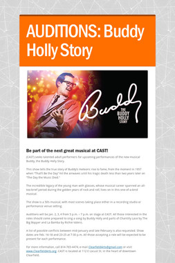 AUDITIONS:  Buddy Holly Story