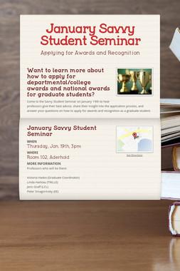 January Savvy Student Seminar